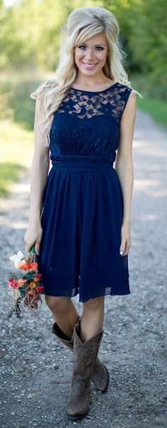 Look gorgeous wearing this Country Style Navy Lace Bridesmaid Dresses Sexy Backless Short Chiffon Cap Short Sleeves Beach Wedding Maid of Honor, also perfect for Prom Evening Gown. More at http://www.cutedresses.co/go/Western-Country-Style-Bridesmaid-Dress-for-Wedding