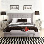 Homelegance Baxter Upholstered Platform Bed - Beautify the bedroom with the stylish, tufted Baxter Upholstered Platform Bed - Gray Linen . With its a gorgeous linen headboard, sturdy Asian...