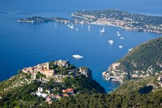Eze, France, overlooking the Côte d'Azur. 3 Corniche roads like layers of a cake crossing the French Riviera into Monaco. Grand Corniche, the highest & built by Romans, offers panoramic views. Middle Corniche takes you to Eze. Then drive from Eze to Nice. Oh The Places You'll Go, Places To Travel, Road Trip Europe, South Of France, Eze France, Travel Around Europe, French Riviera, France Travel, How To Feel Beautiful