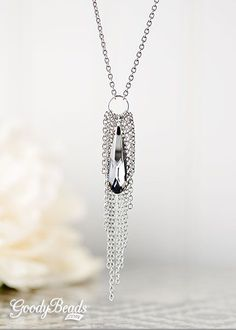 GoodyBeads.com | Blog: Easy DIY Jewelry with Swarovski Raindrop Pendants - Chain Tassel Raindrop Necklace