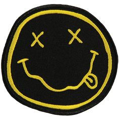 Nirvana Men's Smiley Face Embroidered Patch Black from Rockabilia. Shop more…