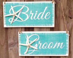 Starfish Turquoise Bride and Groom Sign- Set of 2 - Beach Starfish- Beach Burlap wedding decor-Wedding Chair Sign - Wedding Photo Prop