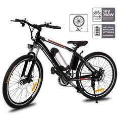 Aceshin Electric Mountain Bike with Removable Large Capacity Lithium-Ion Battery Electric Bike 21 Speed Gear and Three Working Modes Black (US Stock) Mountain Biking, Mountain Bike Reviews, Electric Mountain Bike, Best Mountain Bikes, Mountain Bike Shoes, Mountain Bike Accessories, Cool Bike Accessories, Best Electric Bikes, Electric Bicycle