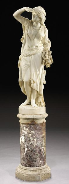 An Italian carved marble figure of Ruth - Luigi Guglielmi (1834-1907).
