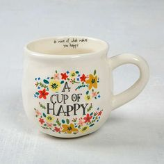 Cup of Happy Happy Mug - Everyone has room for a cute new mug! With a handcrafted feel, generous size, rim message and surprise design in the bottom, this happy ceramic mug is perfect for gifting.