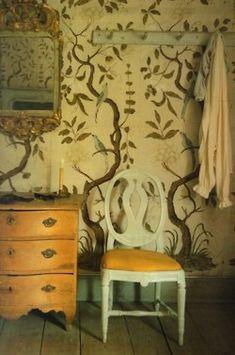 Swedish chair, wallpaper. Looks like the Lewis & Wood   wallpaper Eden......