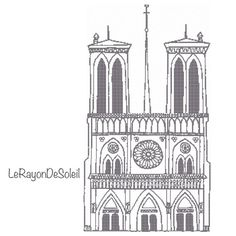 Cross stitch pattern Notre Dame Paris Cathedral monument gothic on Etsy, 3,00€