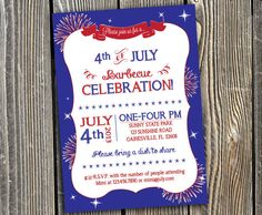 Custom 4th of July Independence Day Party - Printable Invitation - Chevron - Chalkboard Style