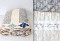 antique 1800s friendship quilt. Hand sewn, hand pieced 19th century quilt. Blue, indigo, calico, white cottons. Stripes with diamond border....