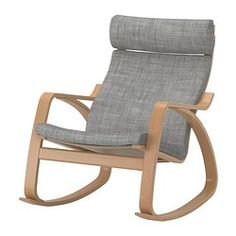 POÄNG Sedia a dondolo - Isunda grigio, impiallacciatura di faggio - IKEA
