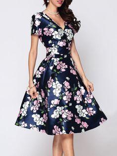 Floral Printed V Neck Skater Dress