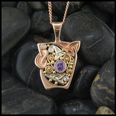Rose Gold and Pink Sapphire custom Celtic pendant.