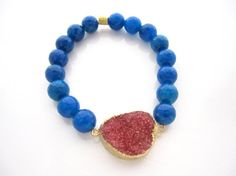 Druzy Stretch Bracelet Cobalt Blue Agate Gift Ideas for Her