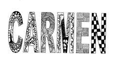 Inward Bound - Zentangle Doodle Name, Zen Doodle, Zentangle Patterns, Zentangles, Name Drawings, Zen Design, Ecole Art, Name Art, Name Design