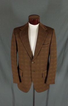 Vintage Action Tailored By Rough Rider Brown Polyblend Checkered Blazer - 44 #ActionTailoredByRoughRider #Doyoureallyneedone