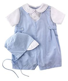 Petit Ami Baby Boy Blue Gingham Romper  Preemie  Newborn Sizes Newborn -- Check out this great product. (This is an affiliate link) #BabyBoyFootiesandRompers