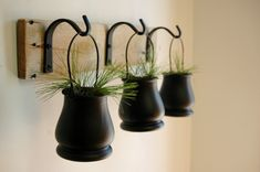 Black Pot Trio with Wrought Iron hooks on wood board for unique wall decor, home decor, bedroom decor