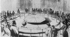 1851'in 31 Martında, Panthéon'da ilk salınımlarını yapan sarkacı ve meraklı kalabalığı gösteren bir illüstrasyon.