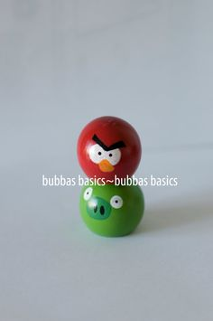 Angry birds wooden knob peg dolls
