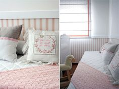 Decoração quarto de menina. Almofadas bordadas e papel de parede imitando lambri nas paredes.