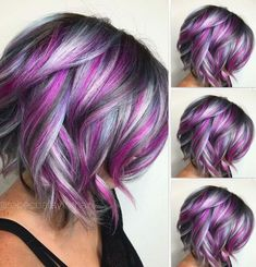 50 Best Short Hairstyle Ideas Frisuren, Short Haircuts For Women. Hair Color Purple, Cool Hair Color, Hair Colors, Short Purple Hair, Purple Hair Highlights, Colours, Short Hair Cuts, Short Hair Styles, Funky Hairstyles