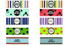 Labels for candy bars, water bottles or cups - Happy Birthday or Thank You