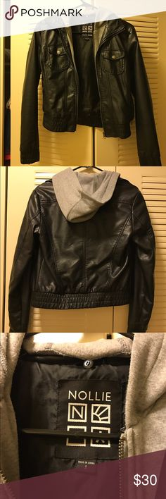 Nollie pleather jacket with sweatshirt insert Gently used pleather jacket from PacSun! Perfect for a casual daytime outfit or can easily pull together a nighttime look as the sweatshirt insert is removable. Price negotiable! Nollie Jackets & Coats