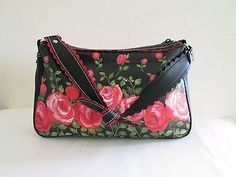 Isabella Fiore Black Leather Painted Roses Handbag Purse Shoulder Bag Multicolor
