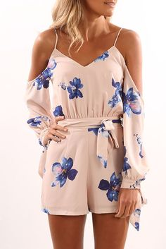 Skyline Playsuit Nude Floral