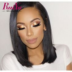 Brazilian Natural Hair : Top Cheap Real Human Hair Lace Wigs Short Bob Wigs 14 Inches Straight Custom Lace Front Wigs As The Picture - Beauty Haircut Flawless Makeup, Gorgeous Makeup, Skin Makeup, Beauty Makeup, Hair Beauty, Amazing Makeup, Contour Makeup, Dead Gorgeous, Pretty Makeup