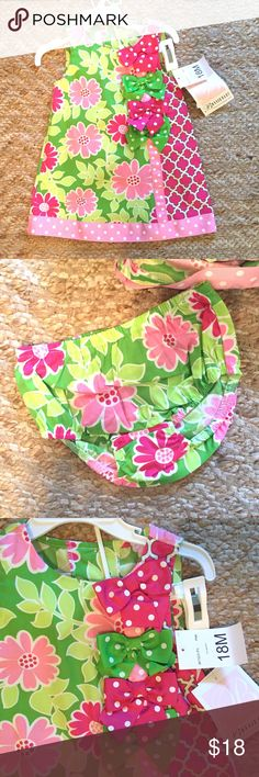 NWT Dress Adorable dress. Inspired by Lilly Pulitzer. Fun pink and green design with ribbon details. Comes with matching bloomers. Bonnie Baby Dresses