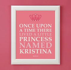 Once Upon A Time Personalized Princess Art Print for Nursery or Girl's Room Decor. $15.00, via Etsy.