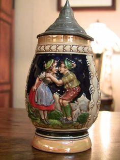 German Beer Steins, Library Room, Beer Company, Beer Brewing, Wine Cellar, Brewery, Horns, Man Cave, Snow Globes