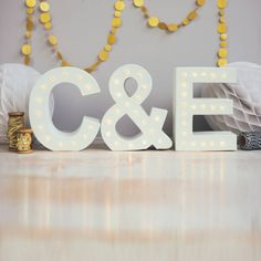 personalised couples initials letter lights by the white bulb | notonthehighstreet.com