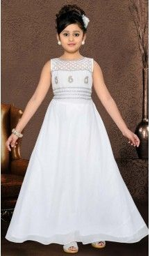 Girl's White Color Gowns Dresses