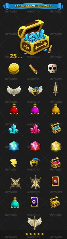 Buy Fantasy Game Icon Pack by on GraphicRiver. 25 icon hand painted for game - pixel File include: 1 Main psd ( all tem ) 25 png icon available Game Ui Design, Prop Design, Game Gui, Game Icon, 2d Game Art, Game Props, Game Interface, Best Icons, Game Concept Art