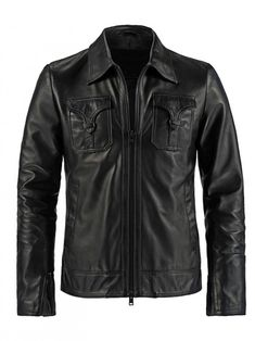 Mens Front Pocket Style Vintage Leather Jacket