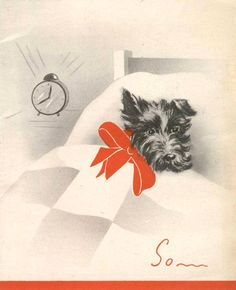 Vintage Scottie Card MORE Scottie info: http://www.girlinthejitterbugdress.com/scottie-dog-facts-may-know/   #Scottie #Scotty #dog