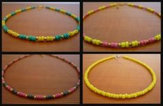 Handmade Beaded Necklace Summer Colors Neon Yellow Green Pink Gray Gold Spacers Fluorescent DIY