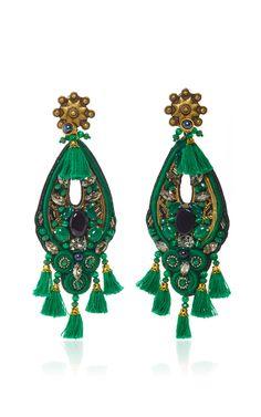 Forest Green Amethyst Earrings by RANJANA KHAN.