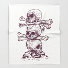 Skull Totem Throw Blanket
