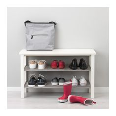 IKEA - TJUSIG, Bench with shoe storage, white, Holds min. 6 pairs of shoes. Combines with other products in the TJUSIG series. Shoe Storage White, Bench With Shoe Storage, Small Storage, Shoe Rack Organization, Home Organisation, Ikea Tjusig, Rotating Shoe Rack, Wall Shoe Rack, Ikea Chest Of Drawers