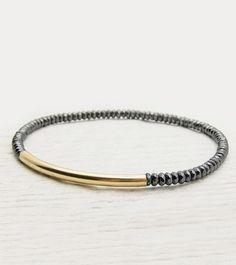 Fancy Hematite 14k Gold Filled Tube Bracelet / metallic grey sparkly hematite / urban sophisticated shiny bracelet / cloud grey / golden ba