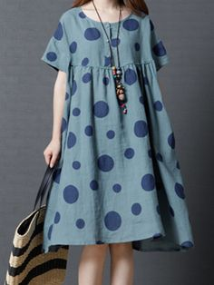A-line Pockets Printed Polka Dots Midi Dress - DRESS,Linen Dress,A-line Pockets Printed Polka Dots Midi Dress,TESTW You are in the right place abou - Linen Dresses, Women's Dresses, Cotton Dresses, Fashion Dresses, Trendy Dresses, Summer Dresses, Mode Abaya, Types Of Dresses, Dress Patterns