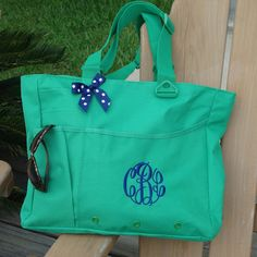 Monogrammed Super Feature Tote  Perfect for by MadAboutMonograms, $26.00