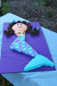 Under the Sea Birthday: Mermaid shaped cake.