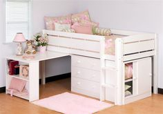 Mira low loft bed with desk Bunk Beds Small Room, Bunk Bed With Desk, Cool Bunk Beds, Bunk Beds With Stairs, Kids Bunk Beds, Small Room Bedroom, Bedroom Decor, Small Rooms, Loft Bed Desk