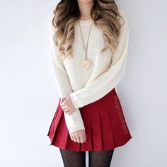 Showing White Top And Red Skirt For Teen, You're able to even put on a skirt above a pair of leggings for a trendy cold weather outfit. Our plus size skirts are offered in various colours, pat. Teen Fashion Outfits, Ootd Fashion, Fashion Beauty, Jugend Mode Outfits, Look Street Style, Frack, Red Skirts, 98, Dress Outfits