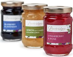 Partridges Chelsea Flower jellies: - Strawberry & rose petal - Blueberry & lavender - Lemon & Champagne with elderflower petal