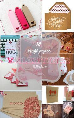 18 different kraft paper Valentines via NoBiggie.net